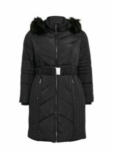 Black Belted Padded Coat, Black
