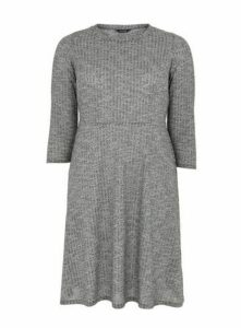 Grey Ribbed Fit And Flare Dress, Grey