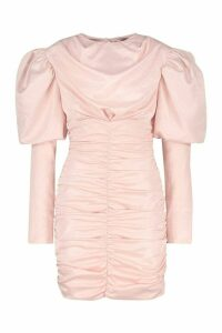 Womens Premium Puff Sleeve Ruched Fitted Dress - pink - 6, Pink