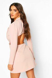 Womens Open Back Blazer Dress - Beige - 14, Beige