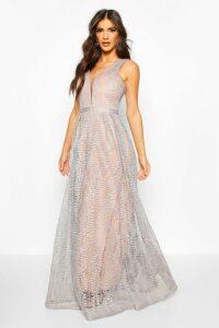 Womens Boutique All Lace Plunge Neck Maxi Dress - blue - M, Blue