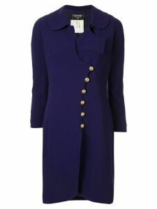 Chanel Pre-Owned off-centre buttoned coat - PURPLE