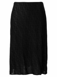 Fendi Pre-Owned Zucca pattern sheer skirt - Black