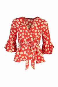 Womens Daisy Print Wrap Blouse - red - 10, Red