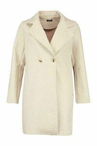 Womens Double Breasted Wool Look Coat - beige - 8, Beige