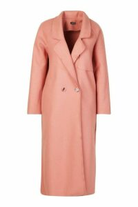 Womens Double Breasted Wool Look Trench - pink - 14, Pink