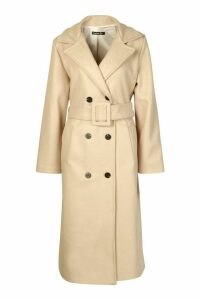 Womens Covered Buckle Belted Wool Look Trench Coat - beige - 14, Beige