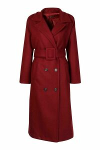 Womens Covered Buckle Belted Wool Look Trench Coat - 8, Red