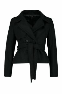 Womens Short Belted Wool Look Trench Coat - black - 12, Black