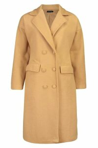 Womens Fabric Covered Buttoned Wool Look Coat - beige - 14, Beige
