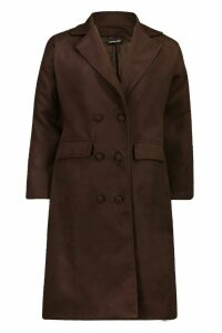 Womens Fabric Covered Buttoned Wool Look Coat - brown - 12, Brown