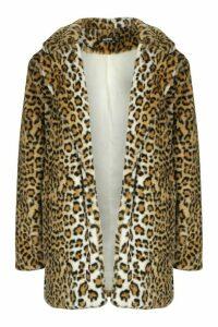 Womens Leopard Oversized Faux Fur Coat - brown - 16, Brown