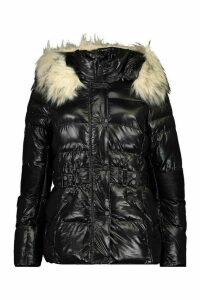 Womens Faux Fur Trim Belted Parka Coat - black - 16, Black