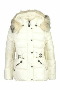 Womens Faux Fur Trim Belted Parka Coat - white - 14, White