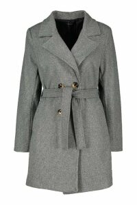Womens Tonal Check Belted Wool Look Coat - grey - 8, Grey