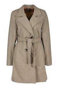 Womens Tonal Check Belted Wool Look Coat - brown - 14, Brown