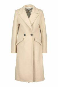 Womens Double Breasted Pocket Detail Wool Look Coat - beige - 14, Beige
