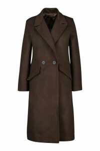 Womens Double Breasted Pocket Detail Wool Look Coat - brown - 14, Brown