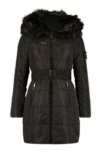 Womens Belted Faux Fur Trim Parka - black - M, Black