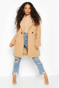 Womens Petite Tailored Double Breasted Wool Look Coat - beige - 6, Beige