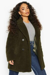 Womens Petite Double Breasted Teddy Coat - green - 14, Green