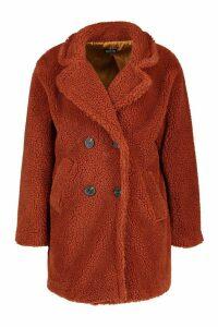 Womens Petite Double Breasted Teddy Coat - orange - 6, Orange