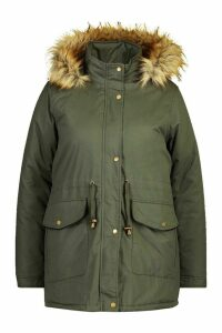 Womens Plus Parka Coat With Faux Fur Trim - green - 20, Green