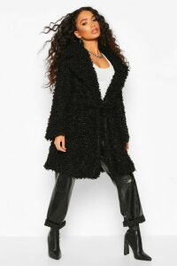 Womens Petite Teddy Faux Fur Belted Coat - black - 14, Black