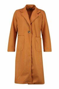 Womens Longline Patch Pocket Wool Look Coat - beige - 14, Beige