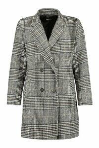 Womens Check Oversized Boyfriend Wool Look Coat - black - 14, Black