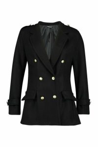 Womens Double Breasted Military Wool Look Coat - black - 12, Black