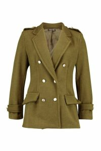 Womens Double Breasted Military Wool Look Coat - green - 14, Green