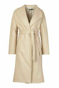 Womens Wrap Belted Longline Wool Look Coat - beige - 14, Beige