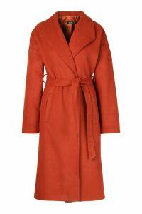 Womens Wrap Belted Longline Wool Look Coat - orange - 14, Orange