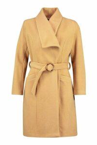 Womens O Ring Belt Detail Wool Look Coat - beige - 14, Beige