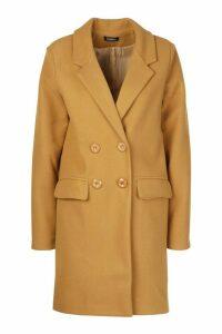 Womens Double Breasted Wool Look Coat - beige - 14, Beige