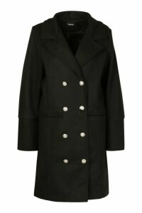Womens Military Button Double Breasted Wool Look Coat - black - 12, Black
