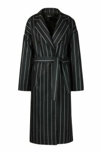 Womens Stripe Belted Wool Look Longline Coat - black - 14, Black