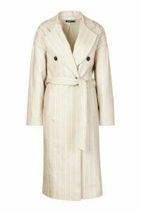Womens Stripe Belted Wool Look Longline Coat - beige - 14, Beige