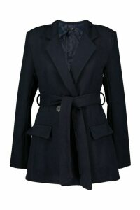 Womens Tailored Belted Double Breasted Wool Look Coat - navy - 14, Navy