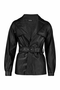 Womens Belted Faux Leather Trench Coat - black - M, Black