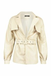 Womens Belted Faux Leather Trench Coat - white - M, White