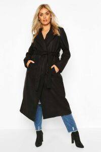 Womens Plus Oversized Self Belted Long Coat - black - 18, Black