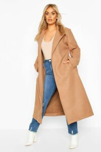 Womens Plus Oversized Self Belted Long Coat - beige - 16, Beige