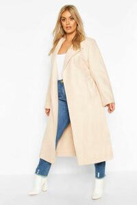 Womens Plus Oversized Self Belted Long Coat - white - 20, White