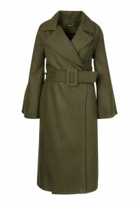 Womens Plus Self Buckle Belt Wrap Wool Look Duster Coat - green - 20, Green