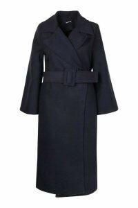 Womens Plus Self Buckle Belt Wrap Wool Look Duster Coat - navy - 20, Navy