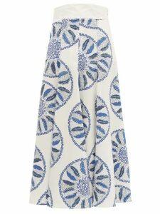 Three Graces London - X Zandra Rhodes Amelina Leaf-print Cotton Skirt - Womens - Blue White