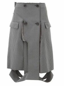 Maison Margiela - Deconstructed Houndstooth Pencil Skirt - Womens - Grey