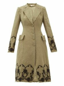 Brock Collection - Floral-embroidered Tweed Coat - Womens - Khaki